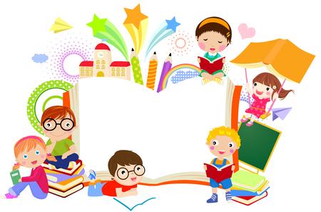 ni�os con pancarta: Los ni�os y el marco de libros
