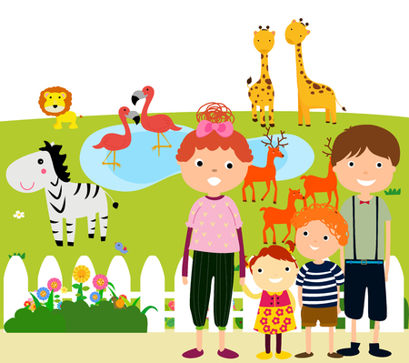 Happy Family Visiting Zoo Ilustracja