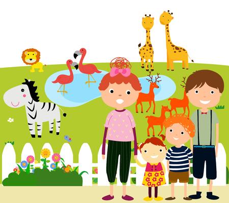visiting: Happy Family Visiting Zoo Illustration