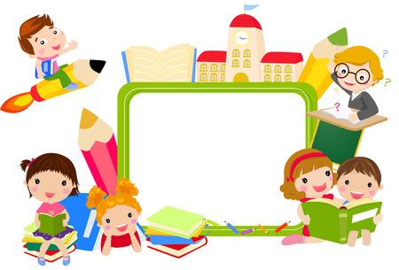 niños escribiendo: Los niños y el marco de libros