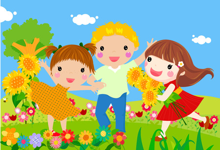 three children: Illustration of three happy children Illustration