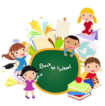 子供と黒板のバナー  イラスト・ベクター素材