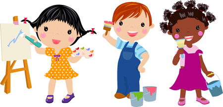 art palette: illustration of cute boy and girl painting