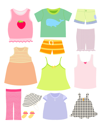 cute baby girls: Vector collection of baby and children clothes collection.