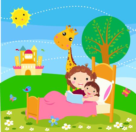 letti: Madre che legge volta letto il libro di storia per la figlia