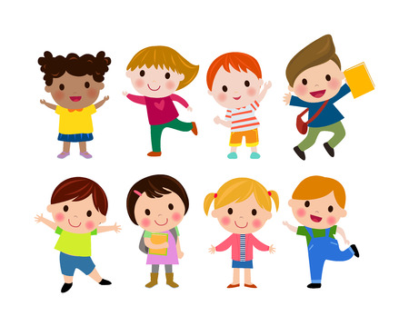 Kids go to school, cute cartoon children