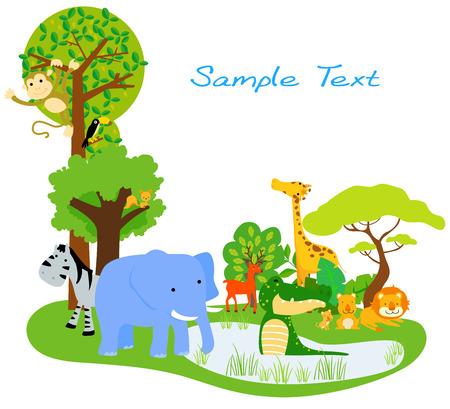 safari animal: Cartoon happy animals Illustration