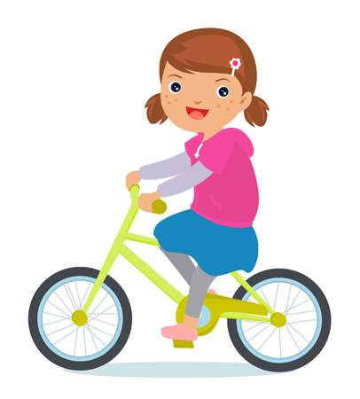 clothes cartoon: Girl on bicycle
