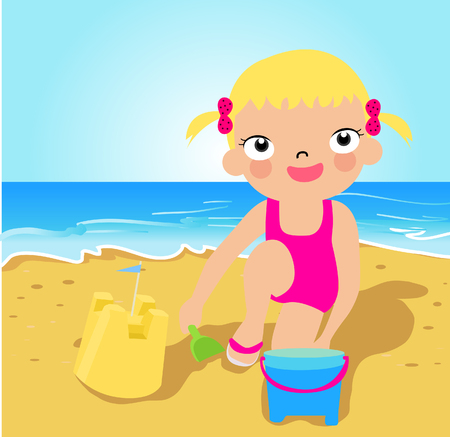 cute girl smiling: Little girl making sand castle at tropical beach