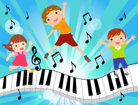 keyboard music: kids and music Illustration
