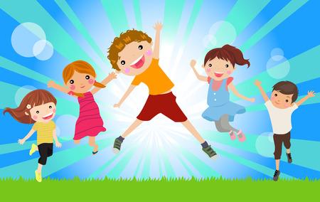boy jumping: felices los ni�os saltando