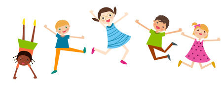 child girl: An illustration of jumping kids