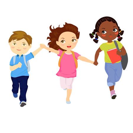 Ilustración de niño y niñas corriendo