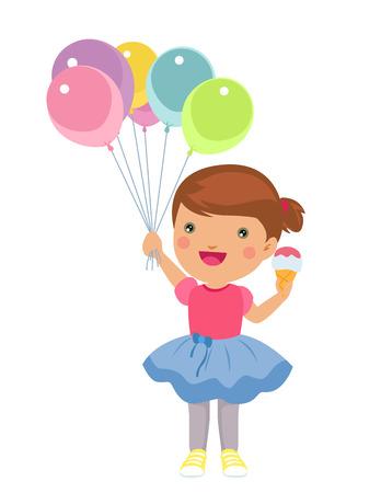 summer cartoon: happy little girl with ice cream and balloons Illustration