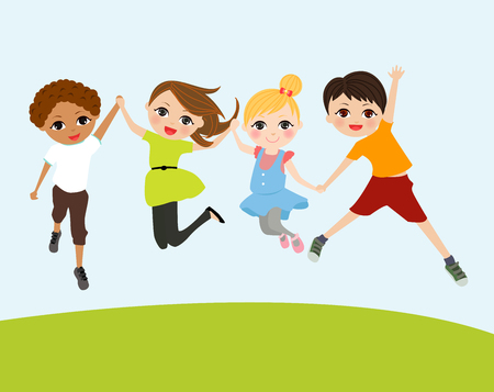 playgroup: happy jumping kids