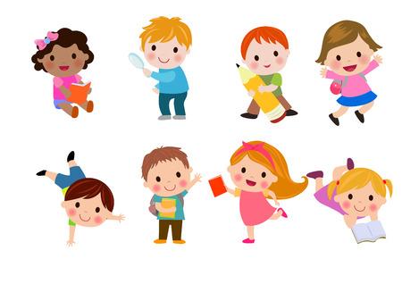 kinderen: Gelukkige kinderen naar school gaan