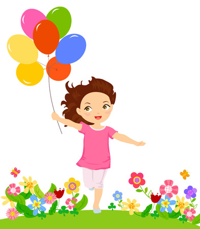 balloon vector: Happy girl running with balloon