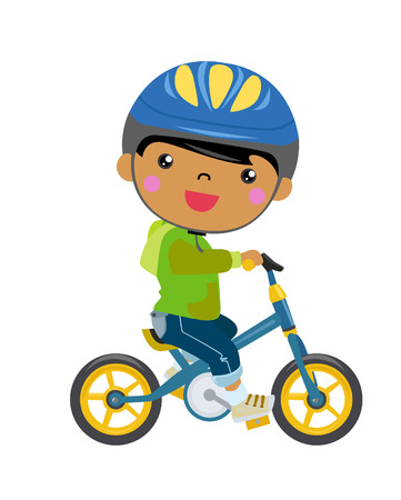 clothes cartoon: boy on a bicycle  Illustration