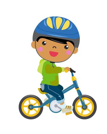 cartoon child: boy on a bicycle  Illustration