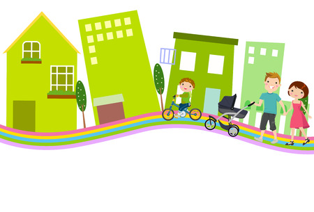 parent and teenager: Happy young family in city Illustration
