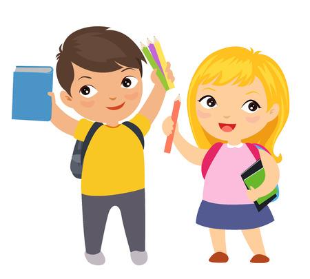 Happy school children cartoon Vettoriali