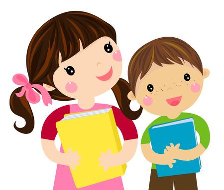 student reading: Happy school children