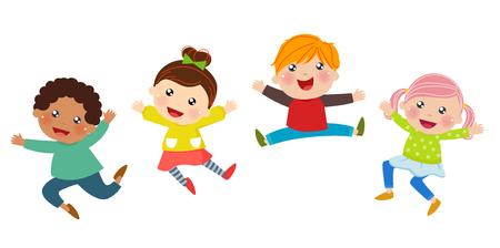 persona saltando: Una ilustración de niños saltando Vectores