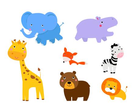 hipopotamo cartoon: Ilustración de la colección linda de los animales Vectores