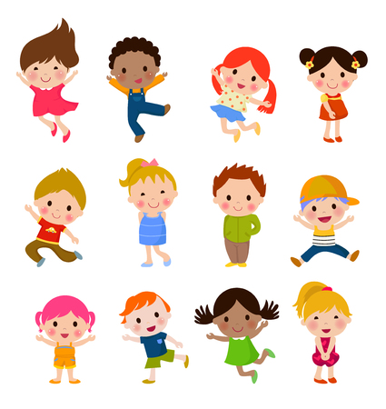 Cute children cartoon collection Stock Illustratie