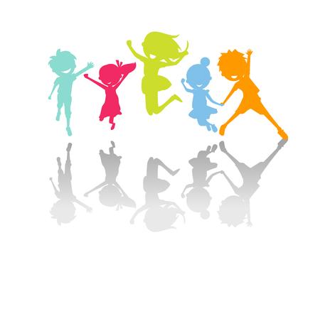 enfant qui joue: Enfants mignons sautant silhouette