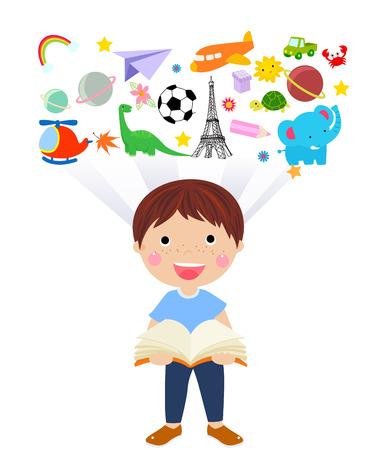 boy book: boy reading book Illustration