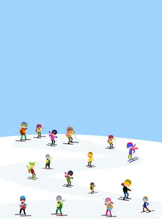 skiers: funny skiers in winter