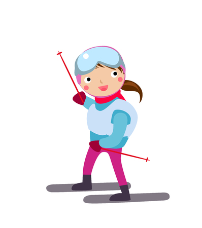 kid smile: Happy girl skiing Illustration