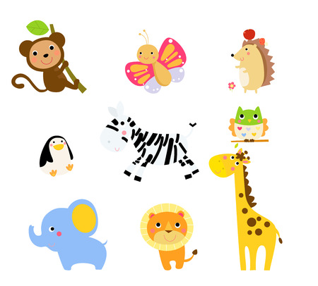 apple clipart: illustration of cute animals collection