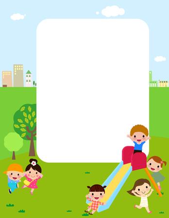 schoolkids: Kids at playground Illustration