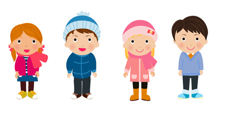 warm clothing: boys and girls in winter