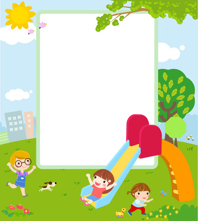 Kids at playground Illustration