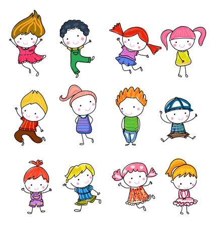 inodoro: Grupo de niños, dibujo boceto