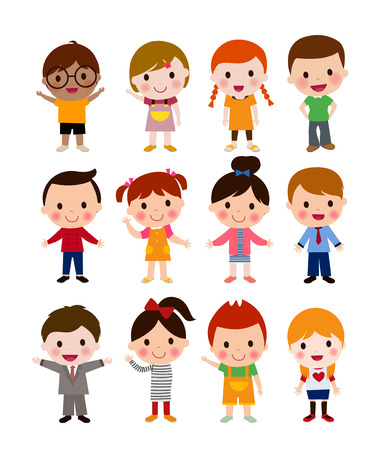 Cute children cartoon collection Ilustração