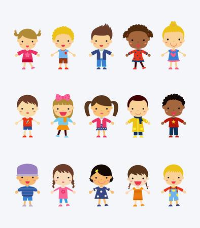 blonde teenager: Cute children cartoon collection Illustration