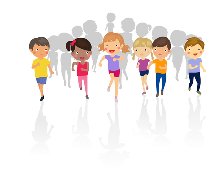 happy people white background: Group of kids running Illustration