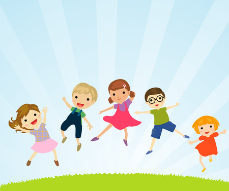 young girl: Kids jumping