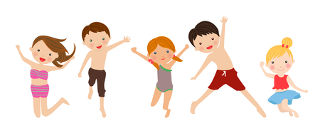 child smiling: Kids jumping