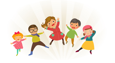 family illustration: Group of kids jumping with winter clothes