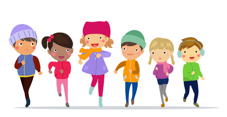 cute girl: Happy children running in winter clothing