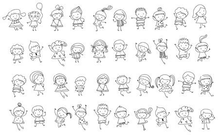 figures: Group of kids, drawing sketch