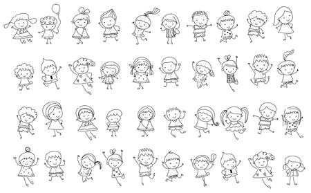 Group of kids, drawing sketch