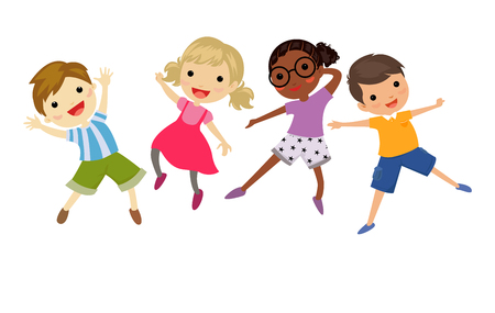 kids having fun: kids jumping Illustration