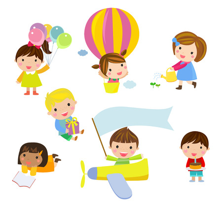 children running: Group of kids set