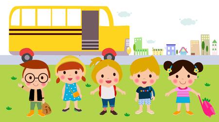 chofer de autobus: Niños y autobús escolar Vectores